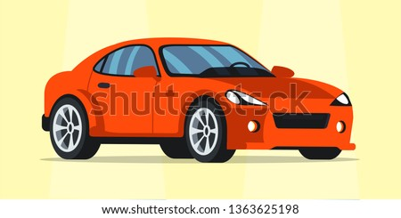 Luxury red car flat illustration. New shiny vehicle in showroom vector clipart. Sports car for sale isolated design element. Dealership service industry. Cartoon automobile side view