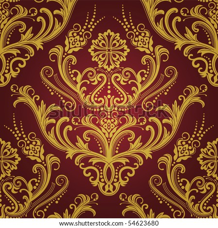Luxury red & gold floral damask wallpaper