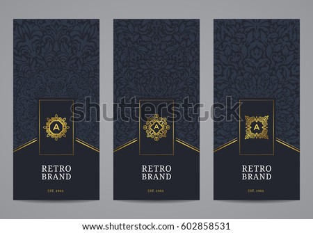 Luxury retro label set. Vector calligraphic logo templates. Vintage monograms collection.