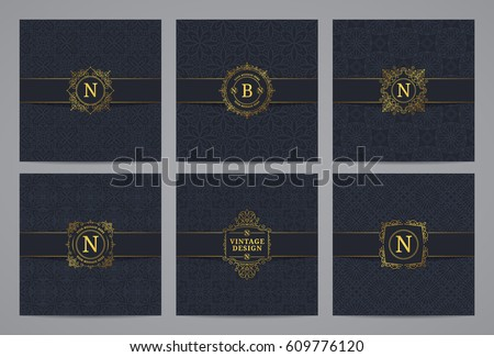 Luxury retro labels with monogram and pattern background. Vector calligraphic logo templates.