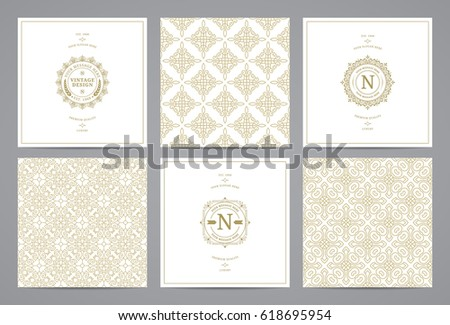 Luxury retro wedding cards with monograms and vintage seamless patterns. Vector calligraphic logo templates.