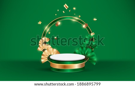 Luxury round podium with chinese fan on green background for product promotion. Vector illustration.