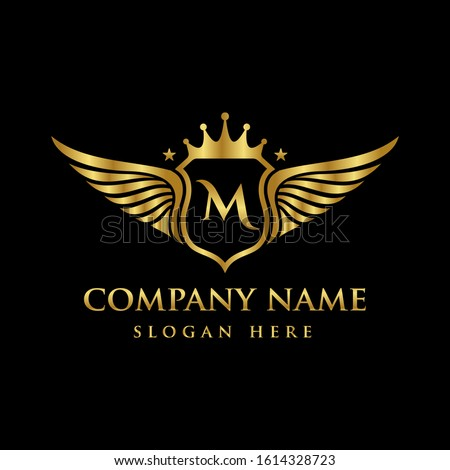 Luxury royal wing Letter M crest Gold color, Victory logo, crest logo, wing logo, vector logo template