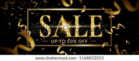 Luxury sale banner design, Glitter gold  ribbon frame background.