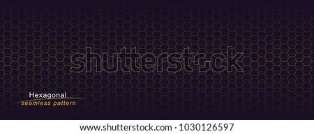 Luxury seamless geometric pattern. Grid hexagonal texture. Dark vector background.