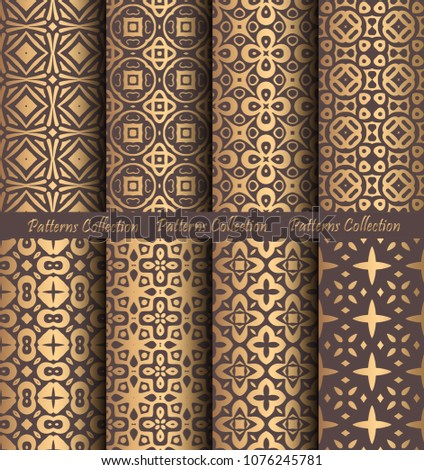 Luxury seamless patterns collection. Golden vintage design elements. Elegant weave ornament for wallpaper, fabric, paper, invitation print. Stylized damask vector background. Curvy floral motif.