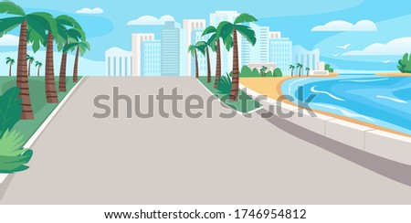 Luxury seaside resort boulevard flat color vector illustration. Waterfront street with skyscrapers and tropical palms. Seafront 2D cartoon landscape with sandy beach and city buildings on background Foto stock ©
