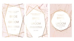 Luxury Set of elegant brochure,wedding invitation card, background, cover. Blush pink marble and glitter texture. Gold geometric frame.Trendy wedding invitation.All elements are isolated and editable.