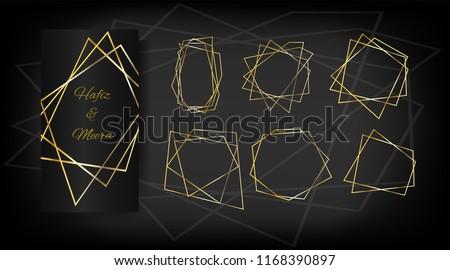 luxury set of golden frames elegant wedding invitation vector birthday new year