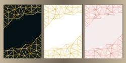Luxury set on pink, white, black background. Gold glitter frames with geometric lines. A4 Templates with text place for greetind cards, gift prints and covers.