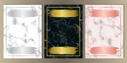 Luxury set on pink, white, black marble background with gold, pink gold and silver frames and elements. A4 Templates with text place for greetind cards, gift prints and covers.