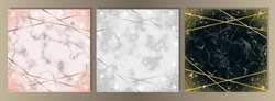 Luxury set on pink, white, black marble background with gold, pink gold and silver frames from lines and glitter. Square templates with text place for greetind cards, gift prints and covers.