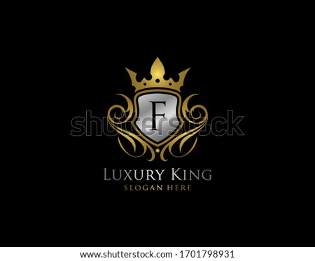 Luxury Shield F Letter Gold Logo, Golden F Classic Protection Symbol
