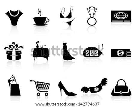 luxury shopping icons set