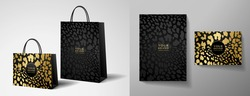 Luxury shopping paper bag design template with black and gold leopard print. Luxe glamorous golden pattern for brand gift packet, premium shop purchase. Vector glam packaging layout