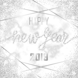 Luxury silver Happy New Year 2019 on white marble background. Gitter congratulation. Template with lettering for greetind card, gift prints and covers.