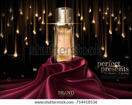 Luxury skin toner ads, premium glass bottle or perfume on scarlet satin isolated on bokeh light bulb background in 3d illustration
