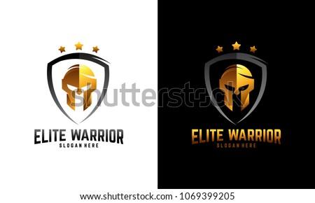 Luxury Sparta warrior helmet logo, Elite Warrior logo template designs