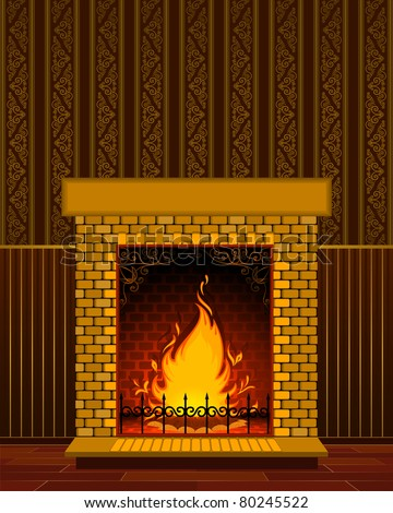 Luxury Stone fireplace with flame. Vector