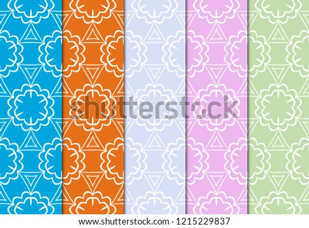 Luxury stylish geometric ornament. seamless pattern. Set of color background. Vector illustration for design #1215229837