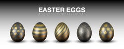 Luxury stylish matte black realistic 3D easter eggs vector collection with different golden ornaments