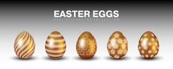 Luxury stylish matte gold realistic 3D easter eggs vector collection with different golden ornaments