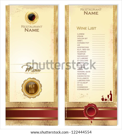 luxury template for a restaurant menu or wine list stock vector illustration 122444554. Black Bedroom Furniture Sets. Home Design Ideas
