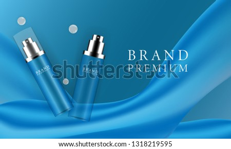 Luxury translucent pink cosmetic adverts with sprinkles of flower petals and pearls, 3d blue background illustrations