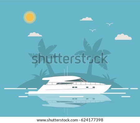 Luxury travel seaway ocean transport  yacht against the background of the tropical island with palm trees in flat style a vector.Voyage and elements of design for the tourist websites and firms.