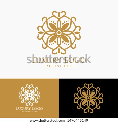 Luxury vector emblem in a circle shape with elegant. Classic elements. Can be used for logo ,invitation, menu, brochure