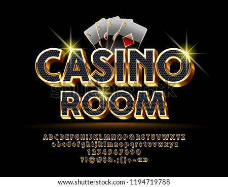 Luxury Vector Logotype for Casino with Royal Font. Set of Black and Gold Letters, Numbers and Symbols.