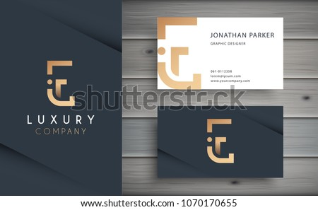 Luxury vector logotype with business card template. Premium letter E logo with golden design. Elegant corporate identity.