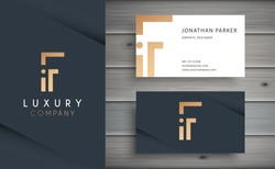Luxury vector logotype with business card template. Premium letter F logo with golden design. Elegant corporate identity.