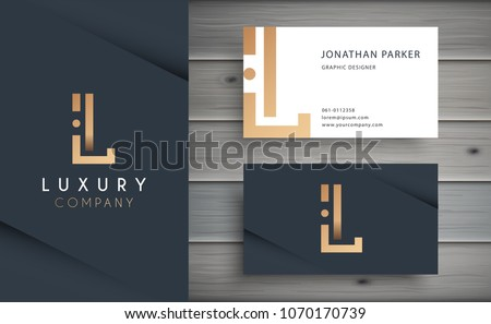Luxury vector logotype with business card template. Premium letter L logo with golden design. Elegant corporate identity.
