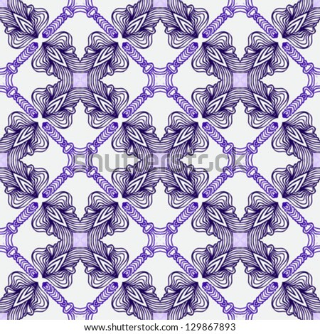 luxury vector seamless pattern in bright blue, with thin delicate elegant lines and Spanish motifs, rich ornamental website or wedding invitation background, wallpaper or textile for spring fashion.