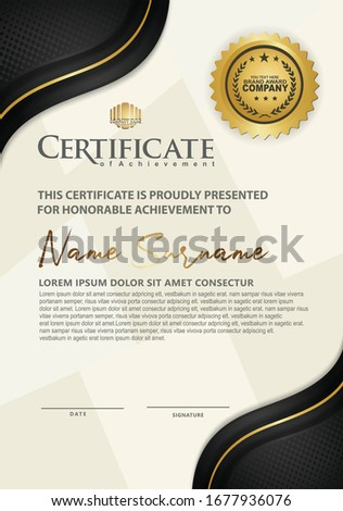 Luxury vertical modern certificate template with black and gold flow lines effect ornament on texture pattern background,
