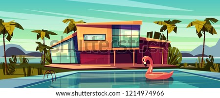Luxury villa on coast, foreign residence in exotic country, expensive mansion in tropics cartoon vector illustration. High-class house exterior with inflatable pink flamingo swim ring in swimming pool