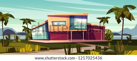 Luxury villa on tropical beach cartoon vector illustration. High-class house exterior with glass facade, garage and palms on lawn. Prestige real estate property, expensive dwelling in exotic country
