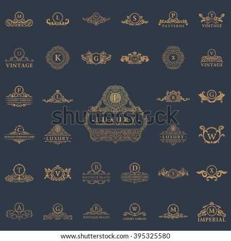 Luxury vintage crest logo set. Calligraphic royal emblems and elements elegant decor. Vector crest monogram ornament for letter