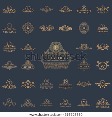 Luxury vintage crest logo set. Calligraphic royal emblems and elements elegant decor. Vector crest monogram ornament for letter