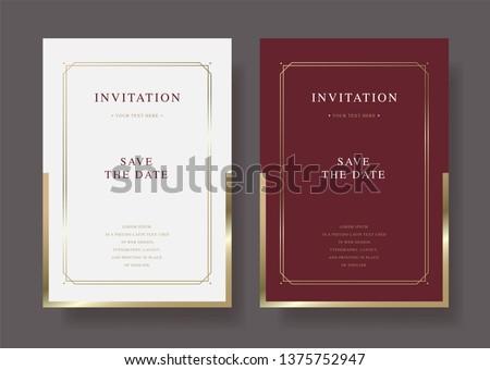 Luxury vintage golden vector invitation card template #1375752947