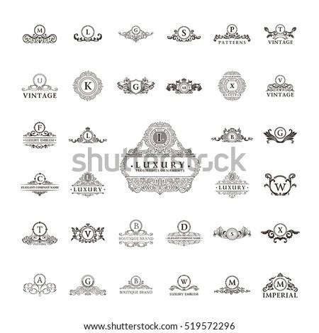Luxury vintage logo set. Calligraphic emblems and crest elements elegant decor. Vector ornament for letter