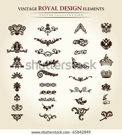 Luxury vintage logo set. Calligraphic emblems and elements elegant decor. Vector ornament for letter. Flower royal design elements set. Vector illustration emblems and logos