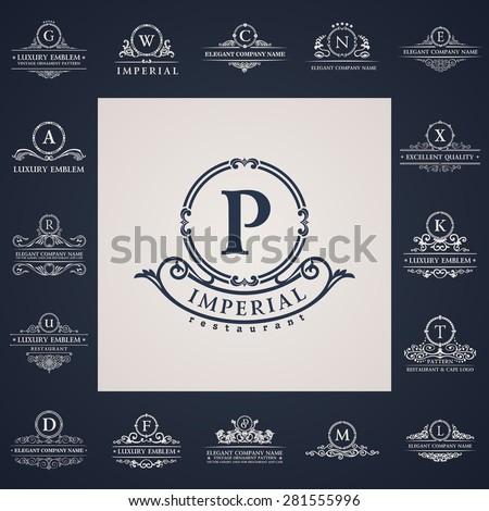Luxury vintage logo set. Calligraphic letter elements elegant decor. Vector ornament Signs and Symbols. The letters P, G, W, C, N, E, X, K, T, L, M, D, F, U, R, A Stock fotó ©