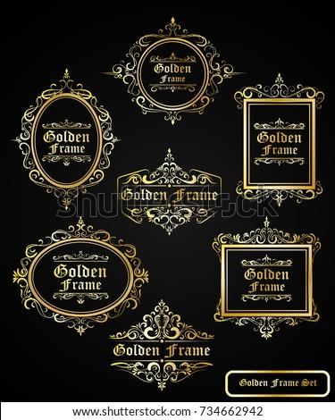 Luxury Vintage Retro Golden Frame Set for Branding Premium Quality