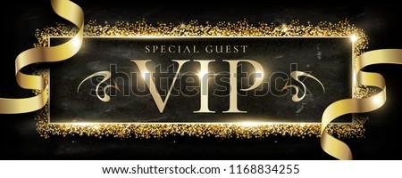Luxury VIP banner design, Glitter golden   dust frame with golden ribbon, Black marble background.