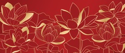 Luxury wallpaper design with Golden lotus on red background. Lotus line arts design for fabric, prints and background texture, Vector illustration.