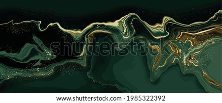 luxury wallpaper. Green marble and gold abstract background texture. Dark green emerald marbling with natural luxury style swirls of marble and gold powder.