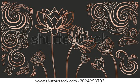 Luxury wallpaper with flowers. Bronze abstract image painted on dark background. Linear design for printing on fabric. Unusual patterns for website. 3d vector illustration isolated on black backdrop