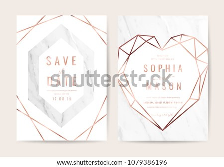 Luxury wedding cards with marble background texture and rose gold geometric shape vector  #1079386196
